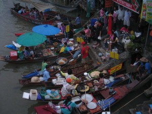 river boats selling food at Amphawa Thailand
