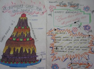 The diagram in the card were all drawn by my artistic friend. It was given to me on my 16th birthday