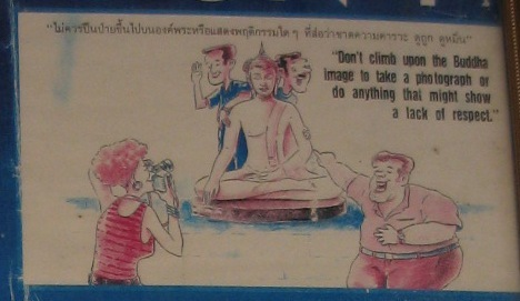 Do and don'ts in Thailand- do not climb on Buddha images for photo taking