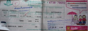 Visual of the train ticket from Bangkok-Butterworth